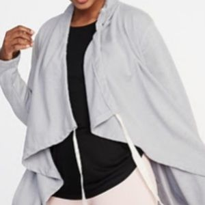 Cinched Neck French Terry Cardigan
